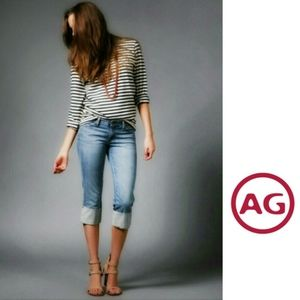 """AG   """"The Shorty"""" Wide Cuff Crop Fit Jeans"""